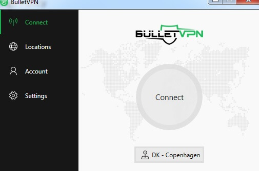 BulletVPN User Interfacw